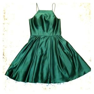 Green high neck satin holiday dress